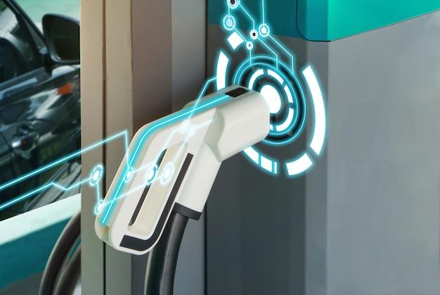 Tecnologia de carregador de combustível ev para carro híbrido elétrico. Foto Premium