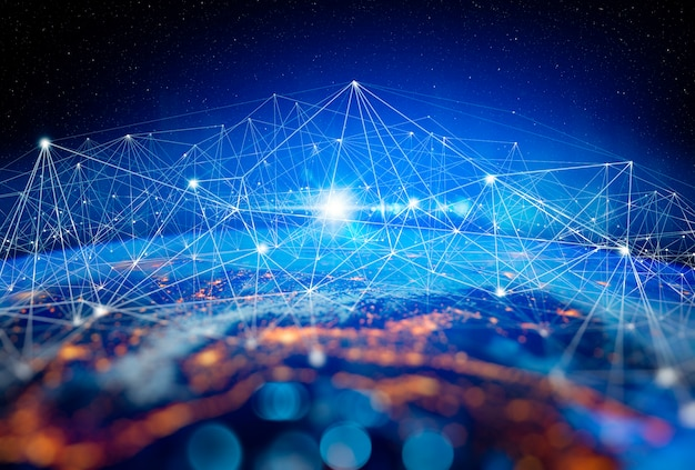 Tecnologia de comunicação para negócios na internet. rede global mundial e telecomunicações na criptomoeda da terra, blockchain e iot. elementos desta imagem fornecidos pela nasa Foto Premium