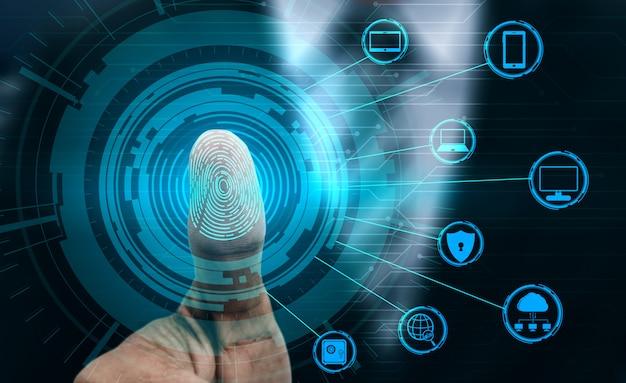 Tecnologia de digitalização biométrica de impressão digital. Foto Premium
