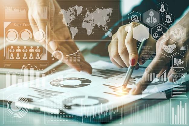 Tecnologia de grande volume de dados para o conceito de finanças de negócios. Foto Premium