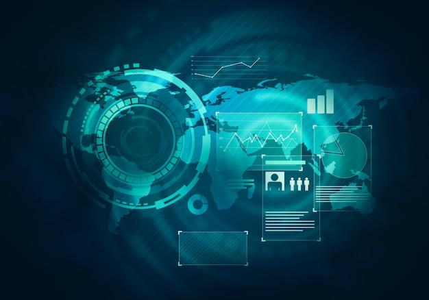 Tecnologia de negócios futurista azul virtual toque gráfico interface de usuário Foto Premium