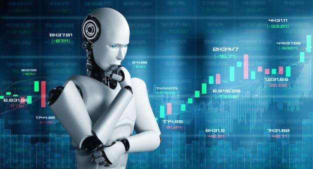 Tecnologia financeira do futuro controlada por robô de ia usando aprendizado de máquina e inteligência artificial para analisar dados de negócios e dar conselhos sobre investimento e decisões comerciais. ilustração 3d. Foto Premium
