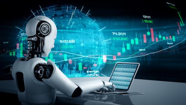 Tecnologia financeira futura controlada por robô de ia usando aprendizado de máquina Foto Premium