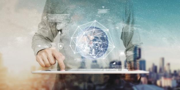 Tecnologia inteligente e rede global. elemento desta imagem é fornecido pela nasa Foto Premium