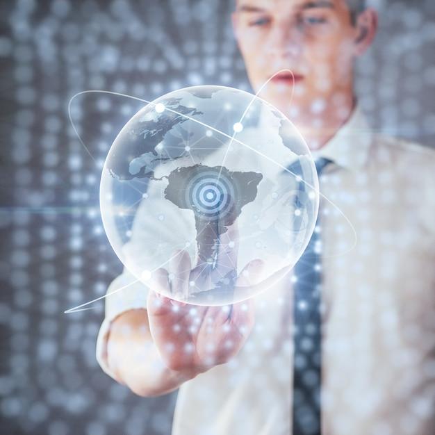 Tecnologias inovadoras em ciência e medicina. tecnologia para conectar. segurando o planeta terra brilhante Foto Premium
