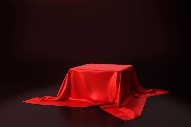 Tela luxuosa vermelha colocada no suporte superior ou na prateleira vazia do pódio na parede preta com conceito luxuoso. renderização em 3d. Foto Premium