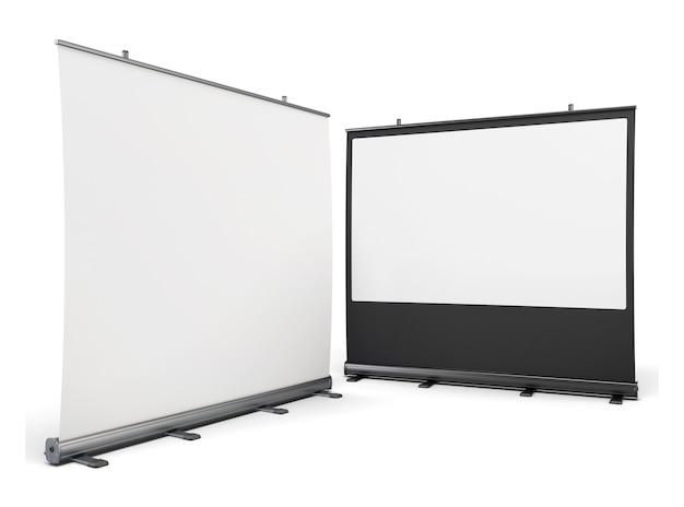 Telas portáteis para apresentações isoladas em branco Foto Premium