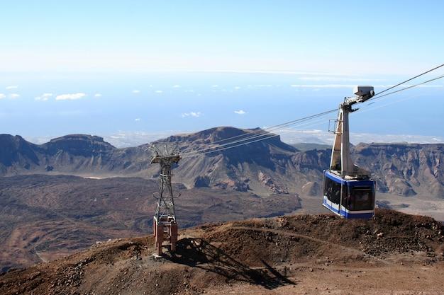 Teleférico no vulcão teide na ilha de tenerife Foto Premium