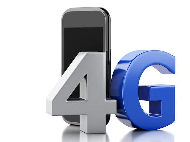 Telefone 3d esperto com sinal sem fio do lte 4g. conceito de tecnologia Foto Premium