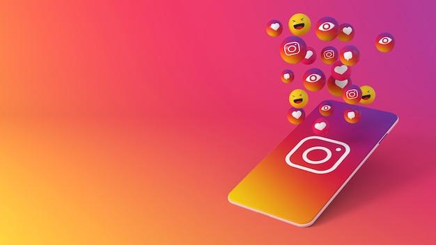 Telefone com ícones pop-up do instagram Foto Premium