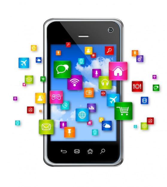 Telefone móvel e ícones de aplicativos voadores Foto Premium