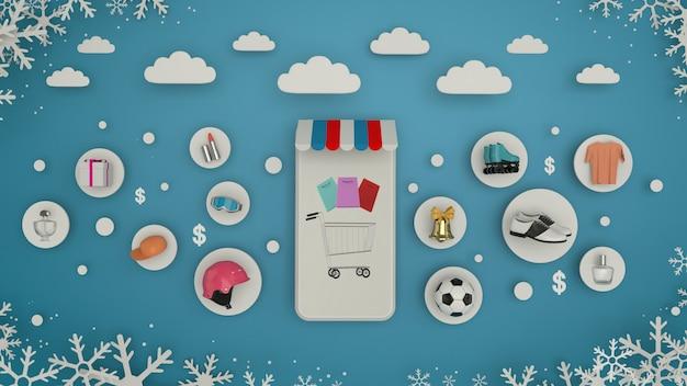 Telefone para inserir conteúdo rodeado por sacolas de compras, carrinhos de compras na renderização wall-3d. - ilustração 3d Foto Premium