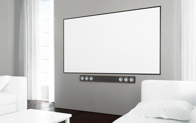 Televisão grande tela em branco Foto Premium