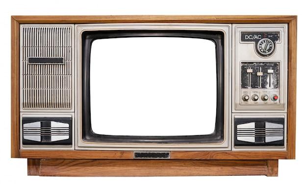 Televisão vintage - televisão antiga caixa de madeira com tela de moldura cortada Foto Premium