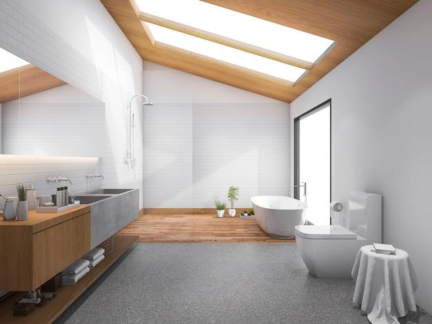 Telhado de madeira de clarabóia de renderização 3d com banheiro de design moderno e wc Foto Premium