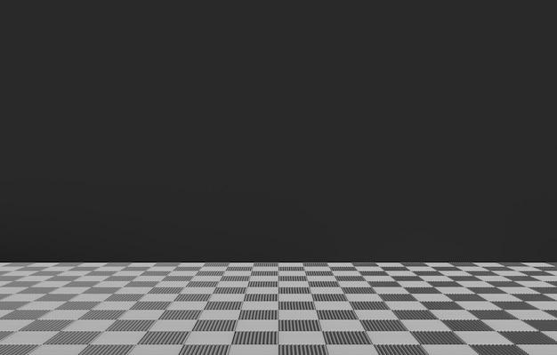 Telhas quadradas da xadrez no assoalho com a parede cinzenta escura da cor como o fundo. Foto Premium
