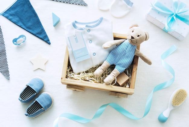 Tema do chuveiro de bebê azul Foto Premium