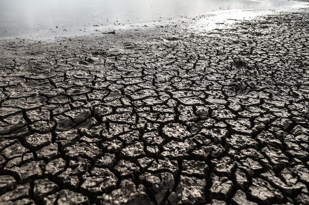 Terra árida com solo seco e rachado, aquecimento global Foto gratuita