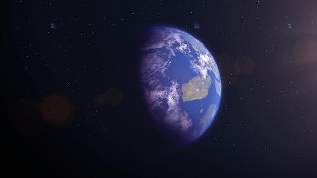 Terra como exoplaneta com ilhas Foto Premium