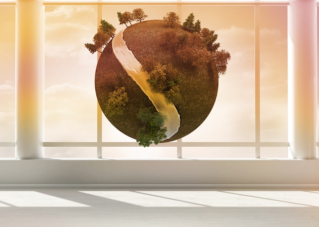 Terra flutuando no quarto Foto Premium