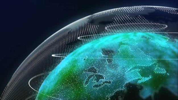 Terra tecnologia holograma cor verde Foto Premium