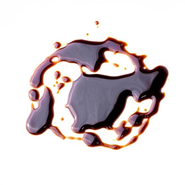 Teste padrão abstrato feito de molho de chocolate isolado sobre o fundo branco Foto Premium