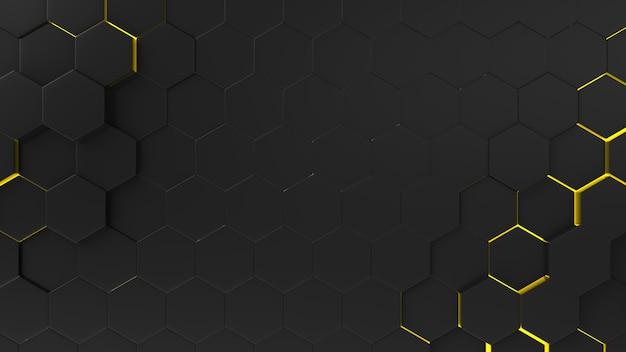 Teste padrão abstrato preto do hexágono do fundo com raios claros. Foto Premium