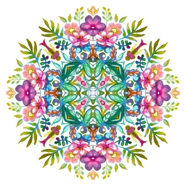 Teste padrão floral com flores coloridas de primavera e verão e folhas verdes. Foto Premium