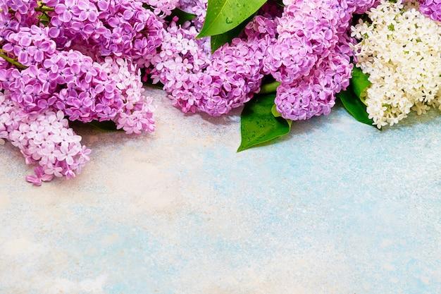 Teste padrão floral de ramos lilás rosa, fundo de flores. flat leigo, vista de cima. Foto Premium