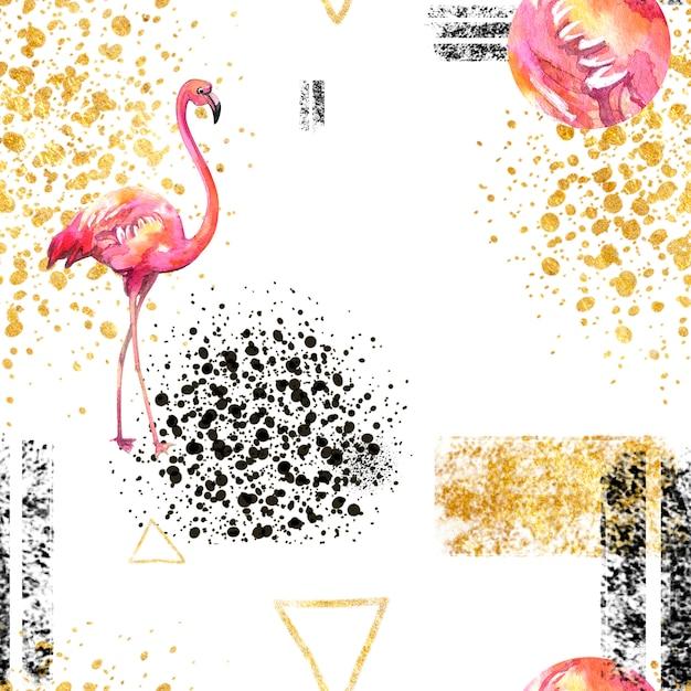 Teste padrão geométrico abstrato do teste padrão sem emenda no branco no estilo escandinavo com flamingo. Foto Premium