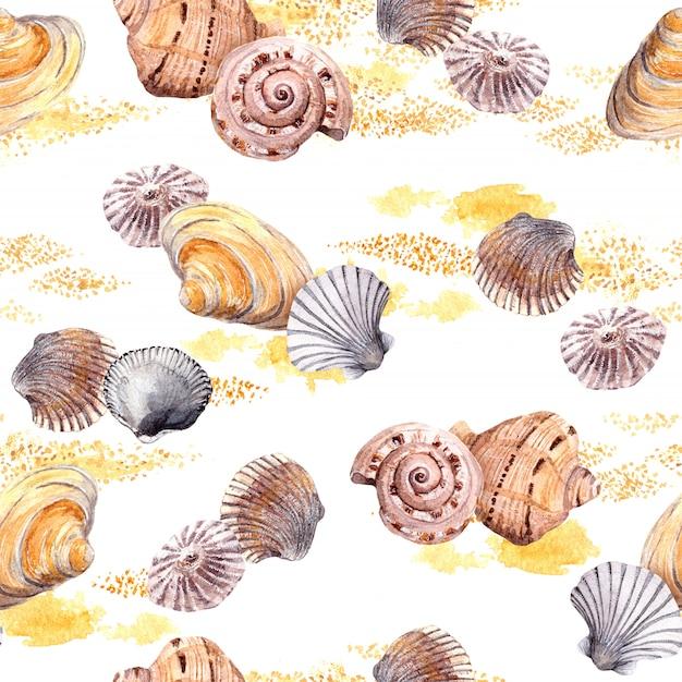 Teste padrão sem emenda da concha e da areia no fundo branco. aguarela Foto Premium
