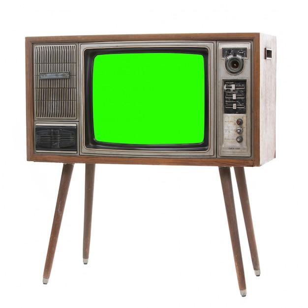 Tevê retro velha com scren verde. Foto Premium