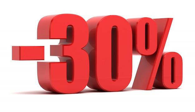 Texto 3d de desconto de 30% Foto Premium
