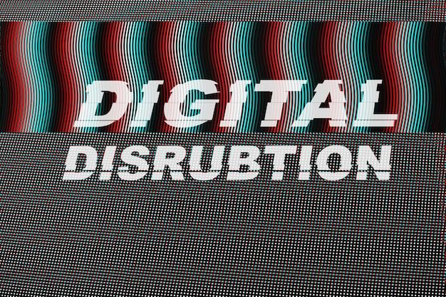 Texto de disrubtion digital na falha do ecrã led. Foto Premium