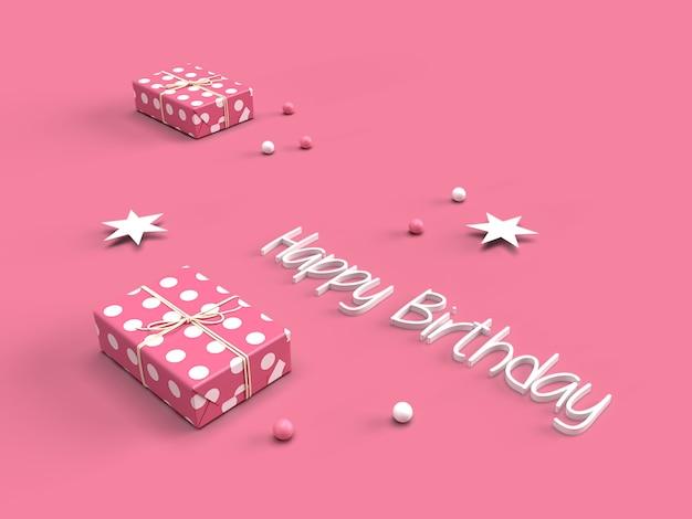 Texto de feliz aniversário 3d com caixa de presente rosa Foto Premium