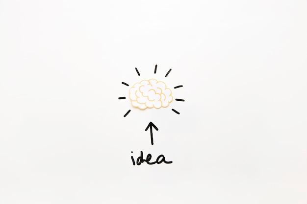 Texto de ideia com o símbolo de seta mostrando o cérebro ativo Foto gratuita