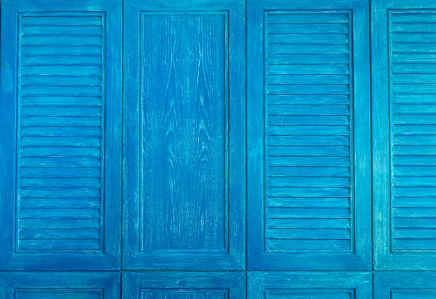 Textura da janela vintage de madeira de cor azul Foto Premium