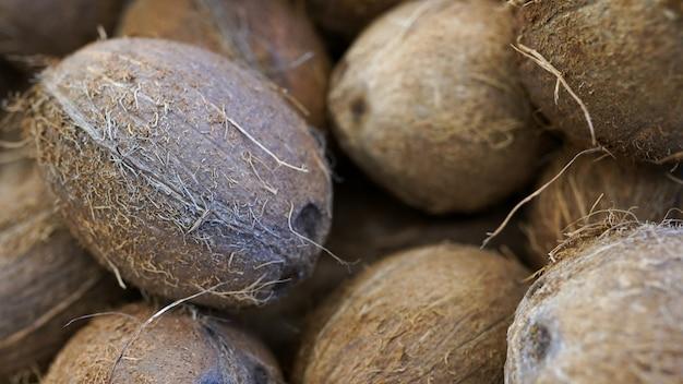 Textura de coco. na fazenda orgânica. muito ou pilha de cocos saborosos frescos Foto Premium