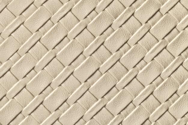 Textura de fundo de couro bege claro e areia com padrão de vime Foto Premium