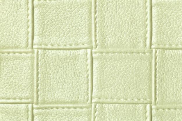 Textura de fundo de couro verde claro com padrão de quadrados e pontos, macro. Foto Premium