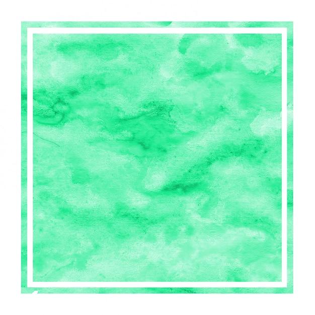 Textura de fundo turquesa mão desenhada moldura retangular aquarela com manchas Foto Premium