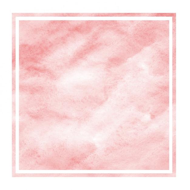 Textura de fundo vermelho aquarela moldura retangular mão desenhada com manchas Foto Premium