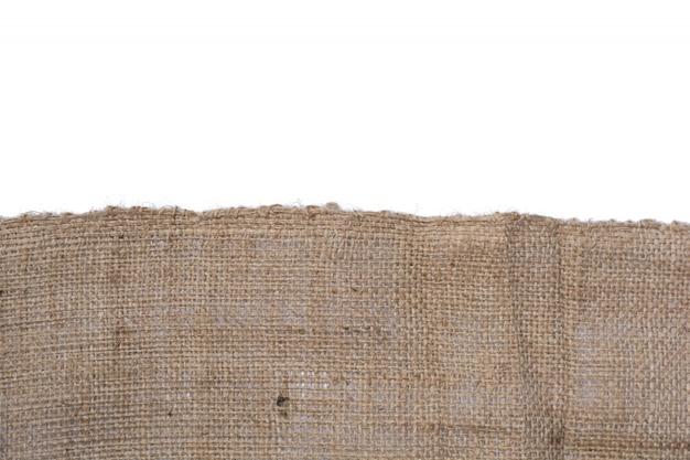 Textura de lona de juta isolada no fundo branco Foto Premium