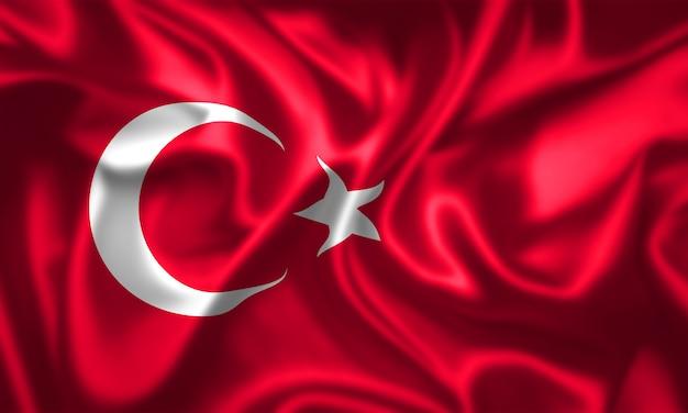 Textura de tecido da bandeira da turquia Foto Premium
