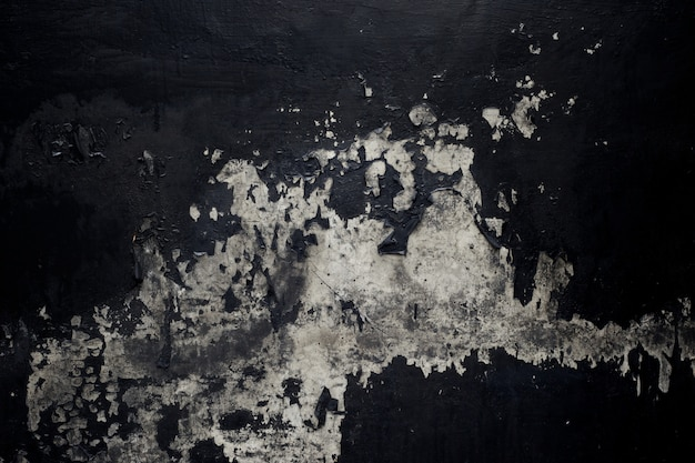 Textura de tinta preta velha descascando fundo parede de concreto Foto Premium