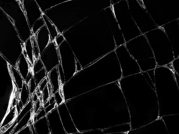 Textura de vidro rachado em fundo preto Foto Premium
