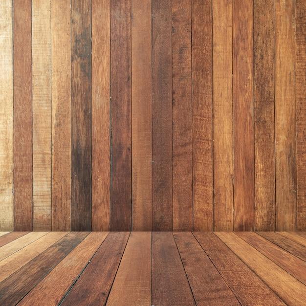 Textura marrom perspectiva de madeira e fundo com espaço Foto Premium
