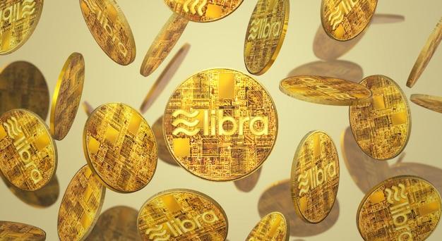 The libra facebook 3d conteúdo de criptografia de renderização. Foto Premium