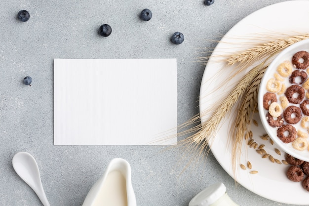 Tigela de cereal de vista superior com maquete Foto gratuita