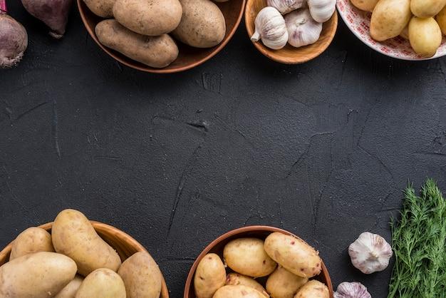 Tigelas com legumes Foto gratuita